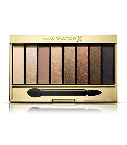 Max Factor Masterpiece Nude Palette Golden Nudes 02 – Lidschatten-Palette mit 8 goldenen und neutralen Tönen mit seidig-mattem und schimmerndem Finish