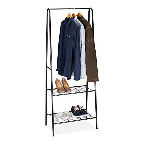 Relaxdays Sandra Kledingrek met 2 planken, metaal, kapstok, met kledingstang, h x b x d: 160 x 61,5 x 38 cm, zwart