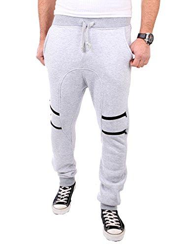 Reslad Jogginghose Herren Low Crotch Zipped Sweatpant Sporthose RS-318 Grau M