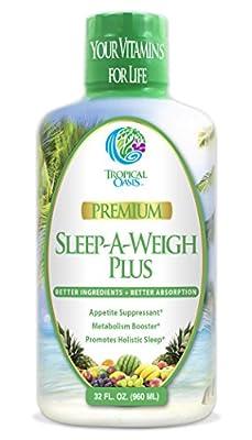 Sleep-A-Weigh Plus | Liquid Sleep Multimineral | Natural Sleep, Stress & Weight Loss Aid | w/Collagen, L-Carnitine, L-Lysine, Tonalin CLA, Apple Cider Vinegar, 5-HTP, Vitamins | Non-GMO | 32 Serv by Tropical Oasis