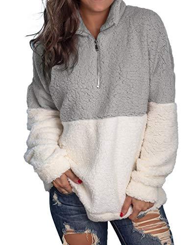 kenoce Damen Pullover Herbst Winter Hoodie Flauschige Sweatshirt Oberteil Mode Langarmshirt Teddy-Fleece Mantel Tops Ohne Kapuze A-Hellgrau EU44/Etikettgröße XL