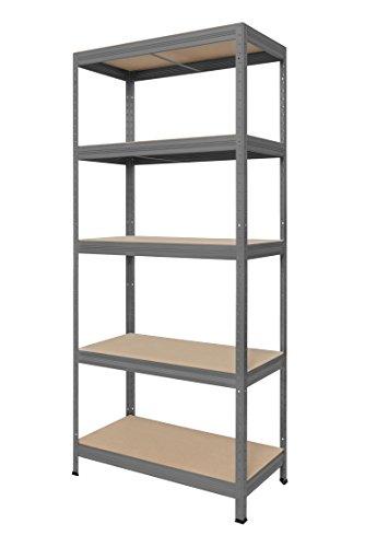 Hans Schourup 13501060 Lagerregal mit 5 böden aus MDF, Traglast von bis zu 275 kg pro Boden, 180 cm x 75 cm x 35 cm, Grau