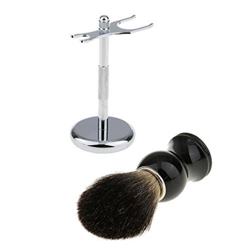 MagiDeal Blaireau de Rasage + Support Rasoir et Blaireau en Acier Inox Outi Nettoyage de Barbre Soins du Visage Kit pour Hommes