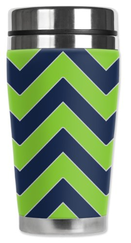 Mugzie Seattle Football Colors Chevron Travel Mug with Insulated Wetsuit Cover, Multicolor by Mugzie
