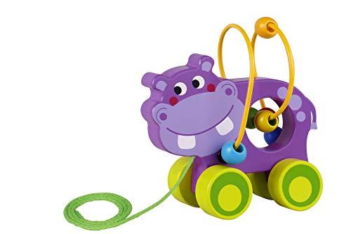 Tooky Toy Jouet à tirer Hippopotame en bois, TKE007, Multicolore
