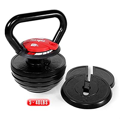 Yes4All 10-40lb Adjustable Kettlebell Weights/Kettlebell Weights Set – Cast Iron Kettlebell for HIIT and Cross Training Workouts from Yes4All