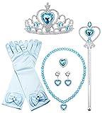 Finrezio Sofia Princess Cosplay Set para Niñas Kids Costume Party Jewelry Set Guantes Corona Varita Collar Aretes Anillo Púrpura