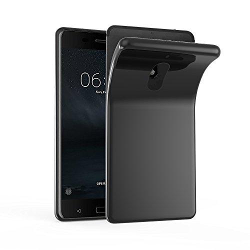 Cadorabo Hülle für Nokia 6 2017 - Hülle in SCHWARZ – Handyhülle aus TPU Silikon im Ultra Slim 'AIR' Design - Silikonhülle Schutzhülle Soft Back Cover Case Bumper
