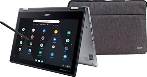 Acer Spin Convertible 2-in-1 11.6' HD IPS LED TouchScreen Chromebook Laptop, Intel Celeron N3350, 4GB DDR4, 32GB eMMC, Bluetooth, HDR Webcam, Media Reader, USB-C, Chrome OS, Sleeve, 64GB Micro SD Card