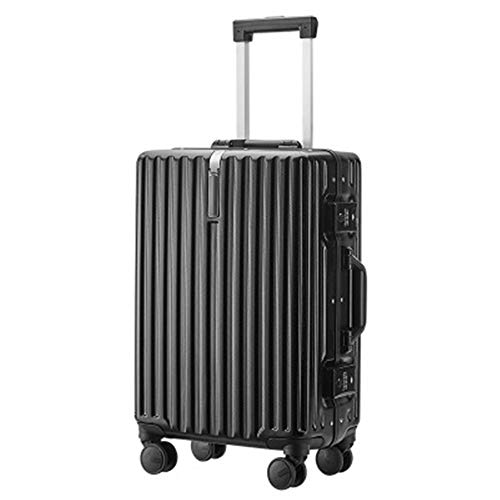 Caishuirong Luggage Telescopic Trolley Password Box 20/22/24/26 Inch Aluminum Frame Student Travel Suitcase Lady Bag For travel and business trips (Color : Black, Size : 26inch)