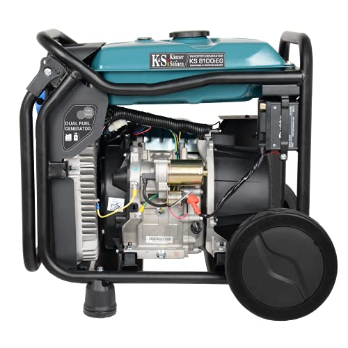 Könner&Söhnen KS 8100iE G LPG/Benzin-Inverter-Generator, stromerzeuger 8000 W,1x16 A (230 V),1x32 A (230 V),2USB-Anschlüsse, inverter stromaggregat mit Kupferwicklung, notstromaggregat gas - EURO V