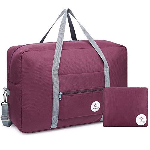 Bolsa de viaje plegable bolsa de viaje bolsa de transporte equipaje equipaje fin de semana deporte durante la noche para niños niñas mujeres (rojo vino (grande con correa para el hombro))