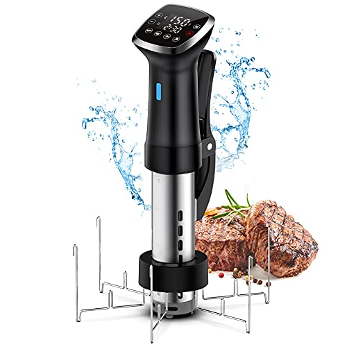 Sous Vide Precision Cooker, With Folding Stainless Steel Rack, Accurate Temperature Digital Timer, Ultra-quiet, 1300 Watts for Steak, Meat, Chicken and etc