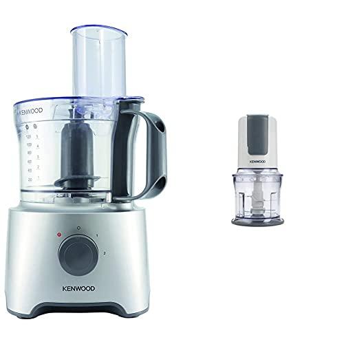Kenwood Fdp302Si Multipro Compact Food Processor, Robot Da Cucina Con Frullatore, 800 W & Ch580 Tritatutto Universale Elettrico, Sistema Mixer A 4 Lame E Accessorio Maionese, 500 W