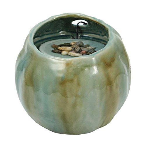 Foreside Home & Garden Blue Green Round Indoor Water Fountain with Pump