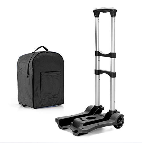 Carretilla de mano portátil de 80 lb Carro de equipaje plegable de aluminio Carro compacto y liviano con cuerda de gancho elástica para viajes, equipaje en movimiento, uso personal y de oficina Black