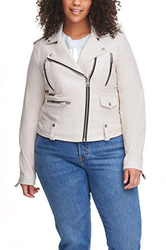 Levi's Women's Faux Leather Contemporary Asymmetrical Motorcycle Jacket, Oyster, Small