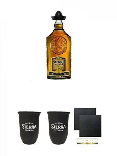 Sierra Antiguo Anejo Gold Tequila 0,7 Liter + Sierra Tequila Tonbecher 0,4 Liter + Sierra Tequila Tonbecher 0,4 Liter + Schiefer Glasuntersetzer eckig ca. 9,5 cm Ø 2 Stück