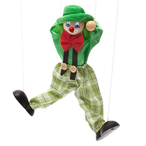 FakeFace Clown Marionette Puppe Pull String Spielzeug Clown Spiel Holz Marionette für Kinder Puppet Spielzeug für Kinder Weihnachten Halloween Geburtstage Geschenk (Grün)