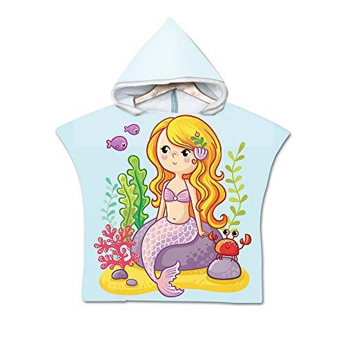 Kinderbadetuch Badeponcho Strandtuch mit Kapuze für Kinder, Treer Baby Bademantel Karikatur Muster Kinder Robe Strand Schwimmen mit Kapuze Poncho für Jungen und Mädchen (60X60cm,Meerjungfrau)