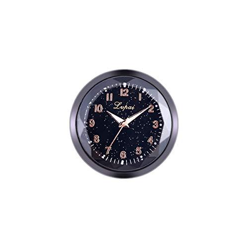Hanpmy Auto Stick-on Horloge Metaal en Glas Dubbelzijdige Lijm Mini Mode Ornament Klok Tijdstuk Auto Interieur Decoratie, Zwart, 1