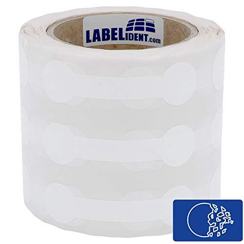 Labelident Sicherheitsetiketten weiß - 70 x 30 x 21 mm - 1000 Polyethylen Etiketten auf 3 Zoll Rollenkern, Dokumentenfolie, Knochenform, stark klebend, matt