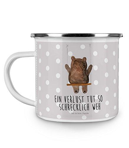 Mr. & Mrs. Panda Metall-Tasse, emailliert, Camping Emaille Tasse Bär Schaukel mit Spruch - Farbe Grau Pastell