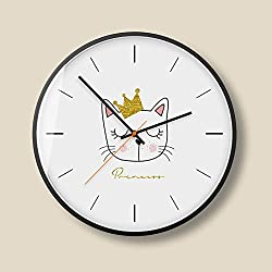 AO-WALL CLOCKS Lion Cat Picture Mute 12.0 inches Large Dial Quartz Clock for Kid's Bedroom Battery Operated (Color : B)