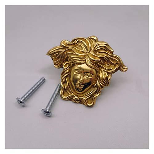 Doorknob handle 1pc Pure Copper Portrait Drawer Cabinet Door Wardrobe Locker Handle Diy Single Hole Furniture Knobs Handles Accessories (Color : Gold)