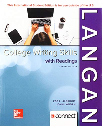 Compare Textbook Prices for College Writing Skills with Readings 10 Edition ISBN 9781260092028 by Langan, John,Albright, Zoe