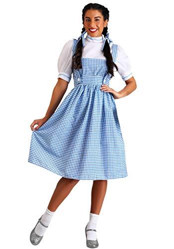 Adult Dorothy Costume Women's Long Blue Gingham Dress Medium
