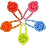 5 Piezas Luces LED de Silicona de Collar de Perro Focos Intermitentes de Parpadeo Luces de Caminata Nocturna Segura con Clip para Mascotas, Incluye Batería de Botón (Estilo de Color Clásico)