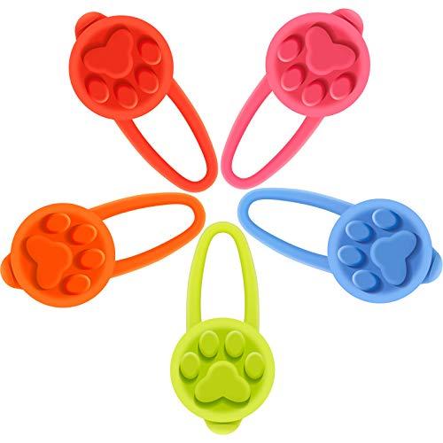 Boao 5 Stück Silikon Hunde Halsband LED Licht, Hunde und Katzen Strahler Blinklicht wasserdichte Clip-On Haustier Sicherheit Nacht Lauf Lichter, Knopf Batterien Enthalten (Klassischer Farbstil)