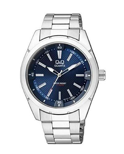 Q&Q Reloj para Hombre, Modelo Q894J212Y. Reloj de Metal, Correa de Color Metálico y Dial de Color Azul. Reloj Analógico para Hombre. WR 50 MT.