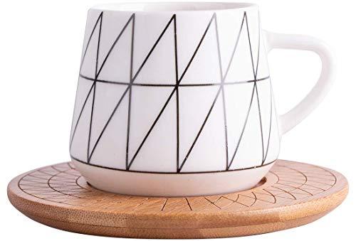 Hayal | 6er Türkisches Kaffeetassen-Set | Mokkatassen | Bambus | Porzellan | Weiß | Schwarz | 12 Teilig | 6 Personen