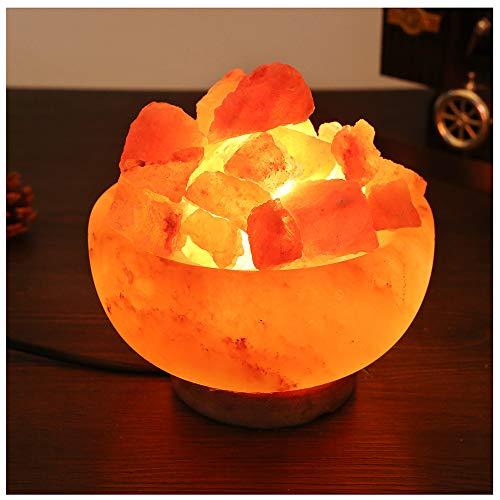 PETSUPPLY 25W Himalaya Steinsalz Lampe Feuerschale Mit Himalaya Steinsalz Brocken, Heilkristalle Lava Lampe, Feuerkorb Stimmungslicht, Warmes Licht