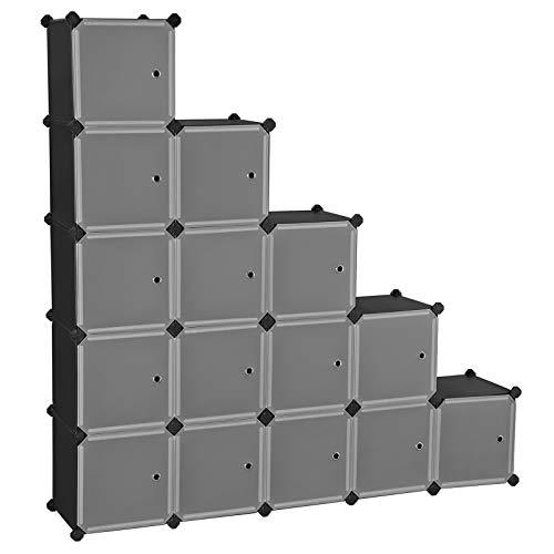 SONGMICS Estantería Modular, Armario Modular de 16 Cubos, Estantería de Plástico con Puertas, para Zapatillas, Ropa, Juguetes, Libros, Fácil de Montar, Negro LPC44HS