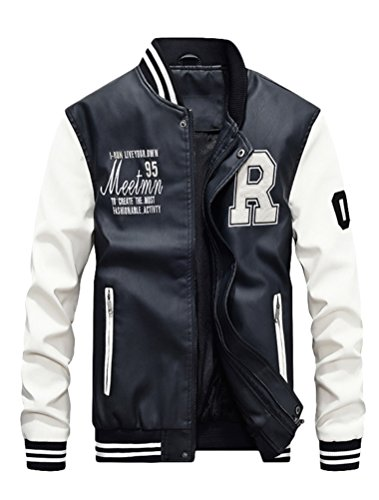 Mordenmiss Men's Basic Leather Letter Man Baseball Varsity Jacket Bomber Outwear White 2XL