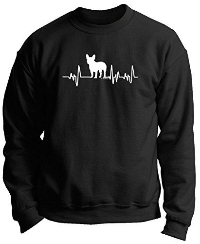 French Bulldog Gifts for Women French Bulldog Gifts Dog Lover Heartbeat Frenchie Premium Crewneck Sweatshirt XL Black