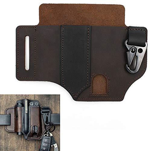 Multitool-Lederscheide EDC Pocket Organizer mit Schlüsselhalter Multitool-Tasche (Braun)