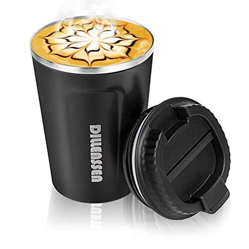 Dillenssen Thermobecher Kaffeebecher, Doppelwand Reisebecher, Vakuum Isolierung Edelstahl mit Auslaufsicherem Deckel Isolierbecher, Umweltfreundliche Wiederverwendbare Kaffeetasse für Kaffee Tee 380ml