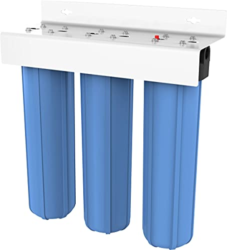 Pentair Pentek BBFS-222 Big Blue Three-Housing Filtration System, 1' NPT #20 High Capacity Water Filter Housing, Holds 20' x 4.5' Filter Cartridges