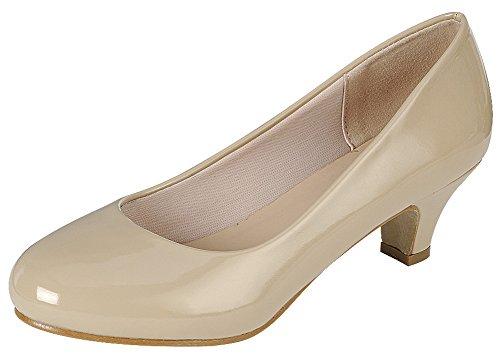 Cambridge Select Women's Classic Dress Formal Round Toe Low Mid Heel Pump (8 B(M) US, Beige)