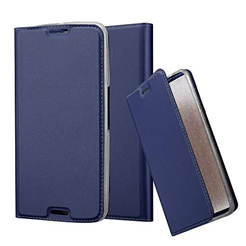 Cadorabo Hülle für Motorola Nexus 6 in Classy DUNKEL BLAU - Handyhülle mit Magnetverschluss, Standfunktion & Kartenfach - Hülle Cover Schutzhülle Etui Tasche Book Klapp Style