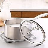 Milch Pan Edelstahl-Topf mit Einscheibensicherheitsglas Glasdeckel Kleine Milch Pan for Privatanwender (Farbe: Silber, Größe: 18cm) ZHW345 (Color : Silver, Size : 18CM)