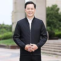 男性のための中年のカジュアルなラペルジャケットの風の緩いコート zhaojing (Color : Black, Size : XXXL)