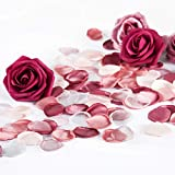 Der Rose 304pcs Fake Rose Petals for Romantic Night, Artificial Flower Petals with Rose Head for Wedding Valentine Day Table Decoration
