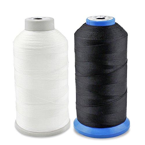 PsmGoods® Heavy Bonded Nylon Overlock-Nähgarn, starkes Garn für Nähmaschine, Handnähte (schwarz & weiß)