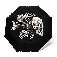 スカル魚パターン 日傘 自動開閉 軽量 折り畳み傘 紫外線遮断 耐風撥水 晴雨兼用 ワンタッチ折りたたみ傘 雨傘自動開閉傘 61cm レディース メンズ ユニセックス