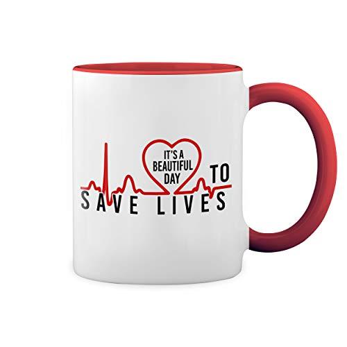 Greys Anatomy It's Beautiful Day To Save Lives Blanco Taza Aro y Mango Con Rojo Mug